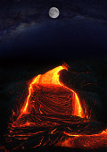 full moon and lava in the night