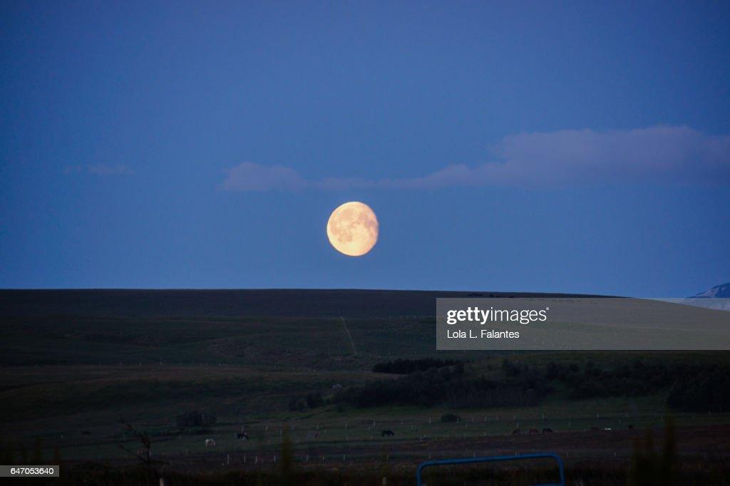 Full moon and lighten night in summer, Iceland : Foto de stock