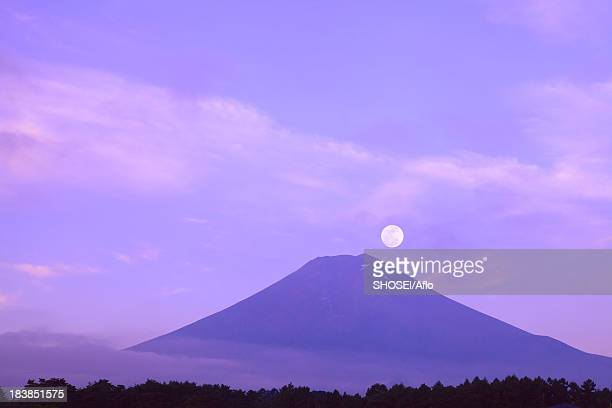 Full moon and Mount Fuji, Yamanashi Prefecture