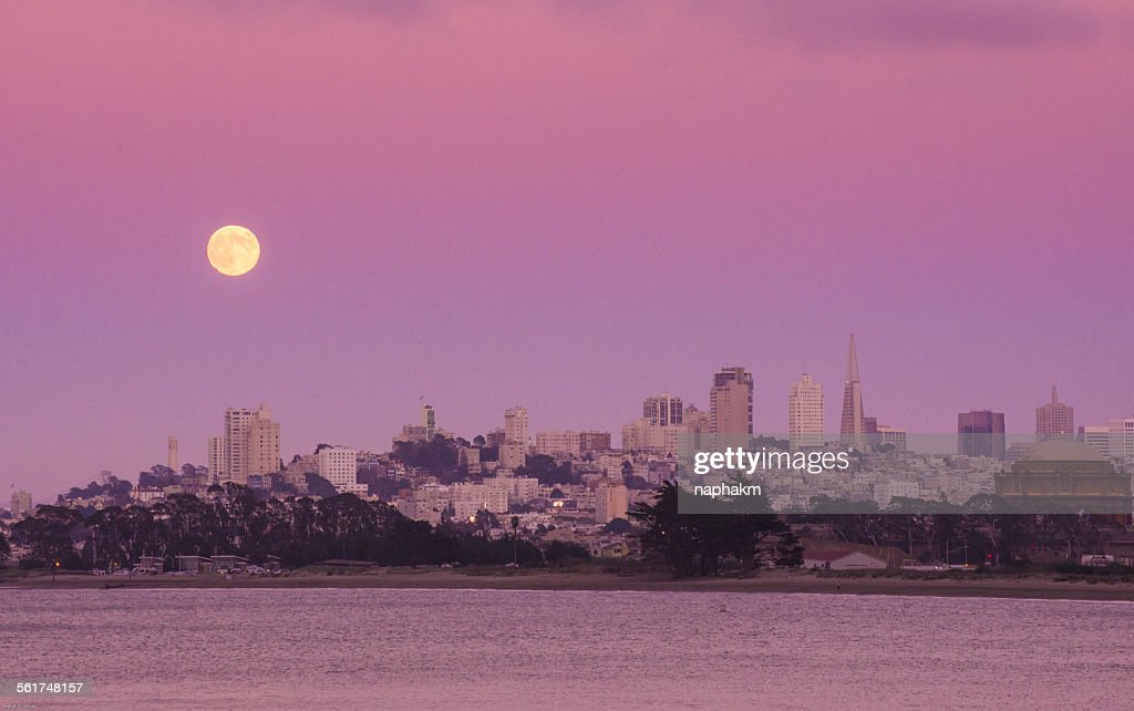 Full moon at San Francisco city : Stock Photo