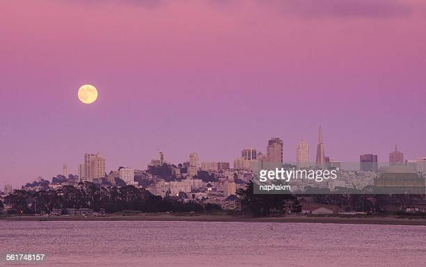 Full moon at San Francisco city