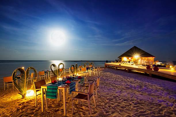 浜辺の飲食スペース