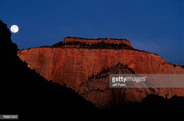 full moon in Zion National Park, Utah. USA