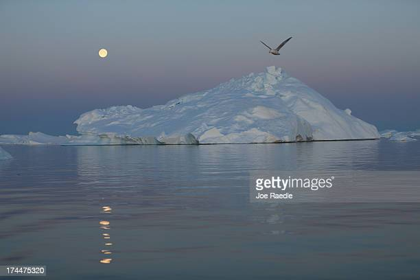 A full moon is seen over an iceberg that broke off from the Jakobshavn Glacier on July 23 2013 in Ilulissat Greenland As the sea levels around the...
