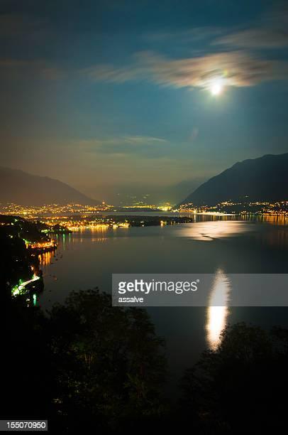full moon over lake maggiore in Switzerland
