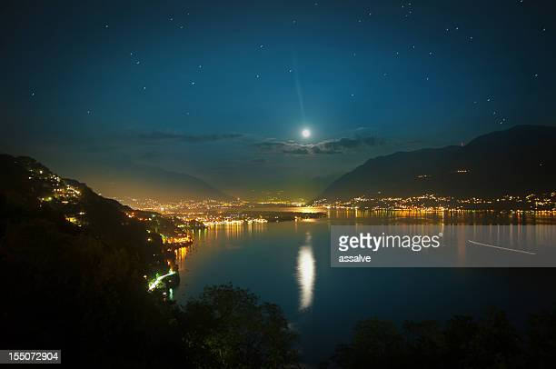 full moon over lake maggiore in Switzerland