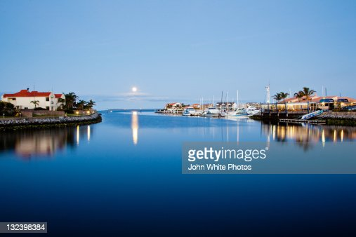 Full moon over Lincoln Cove Marina. Port Lincoln.