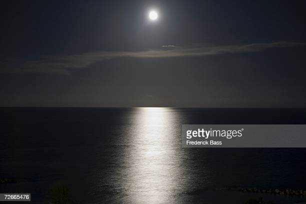 Full moon reflecting on water at night