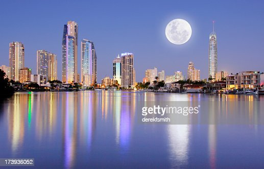 Full moon rising over Surfers Paradise