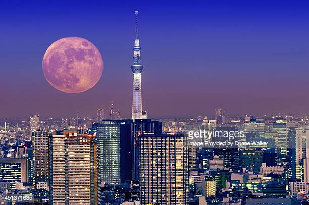 Full moon rising over Tokyo