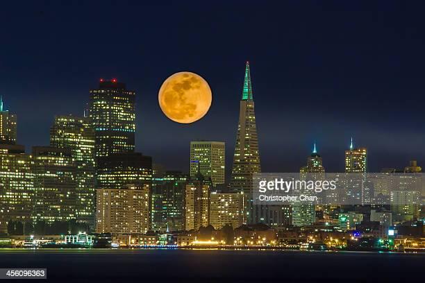 Full moon San Francisco skyline