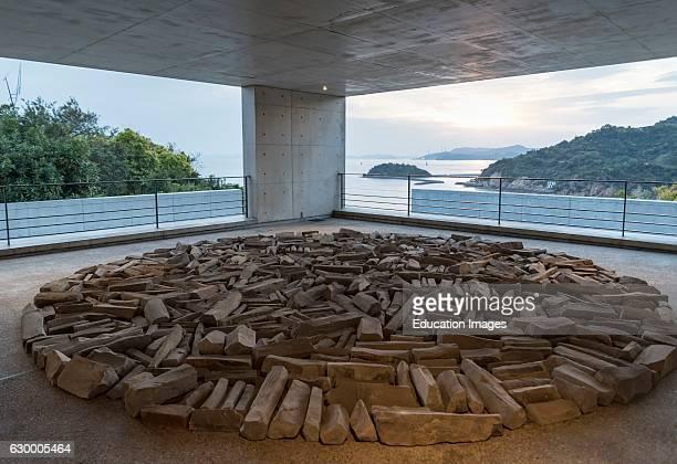 'Full Moon Stone Circle' art object by Richard Long Benesse Museum Naoshima Japan