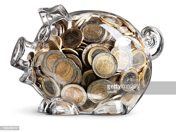Full of Euro Coins Clear Savings Piggy Bank On White