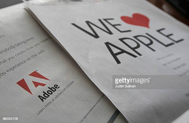 A full page ad by Adobe Systems is displayed on the back of the San Francisco Chronicle business section May 13 2010 in San Francisco California...