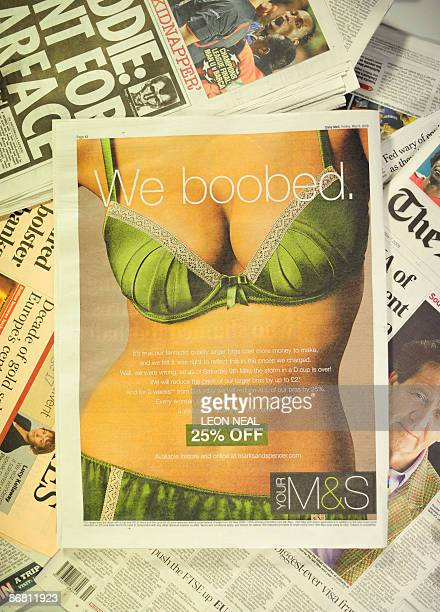 A full page newspaper advert from British retailer Marks Spencer is pictured in London on May 8 2009 British retailer Marks Spencer admitted Friday...