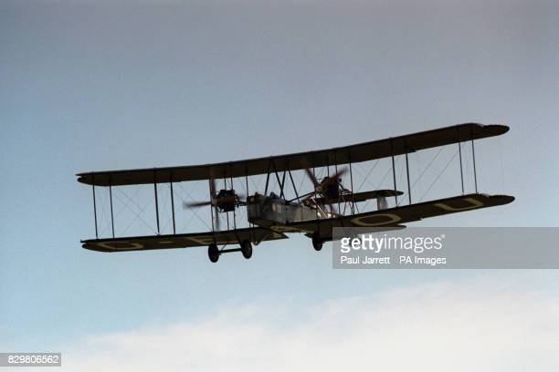 A full size replica of a 1919 Vickers Vimy lands at Brooklands where the original aircraft was built Australian Lang Kidby and American Peter...