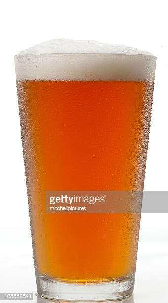 Full stein of Amber beer with froth