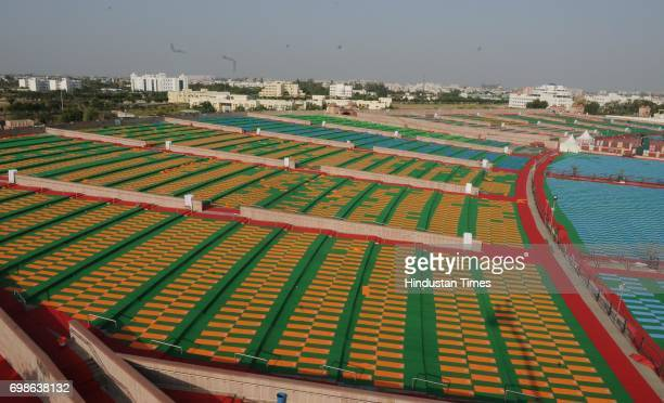 Full swing preparation going on at Rama Bai Ambedkar Maidan for tomorrow as Prime Minister Narendra Modi will present in the event of International...