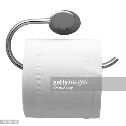 Full toilet roll on chrome toilet roll holder