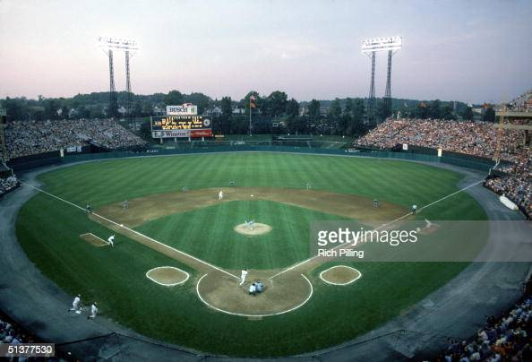 Full view of Memorial Stadium with the Baltimore Orioles on field circa 1986 in Baltimore Maryland