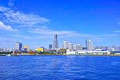 Full view of Yokohama Minatomirai seen from Yokohama Great Pier in summer