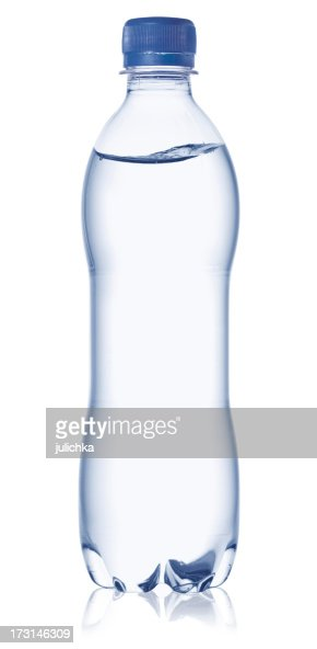 Full water bottle with cap on a white background