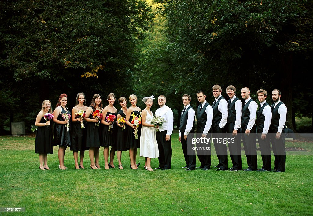 Full Wedding Party in Line at a Park : Stock Photo