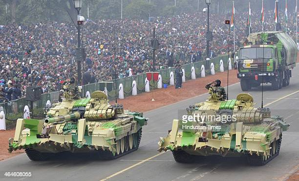 T72 full width mine plough Army tanks passing through the saluting base during the full dress rehearsal for Republic Day Parade at Rajpath on January...