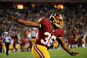 Fullback Darrel Young of the Washington Redskins celebrates after scoring a touchdown during the second half of the Redskins 2724 win over the...