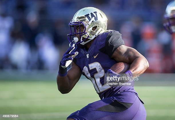 Fullback Dwayne Washington of the Washington Huskies runs with the ball during a game against the California Golden Bears at Husky Stadium on...