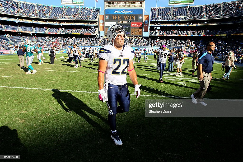 Fullback <a gi-track='captionPersonalityLinkClicked' href=/galleries/search?phrase=Jacob+Hester&family=editorial&specificpeople=2109848 ng-click='$event.stopPropagation()'>Jacob Hester</a> of the San Diego Chargers walks off the field after the game against the Miami Dolphins at Qualcomm Stadium on October 2, 2011 in San Diego, California. The Chargers won 26-16.