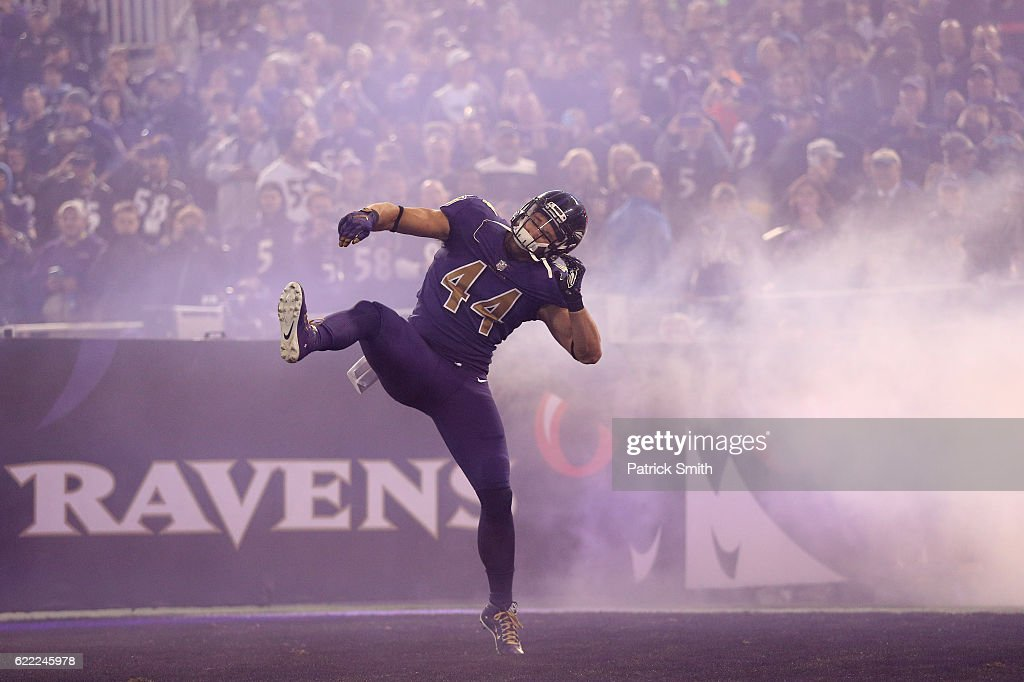 Fullback Kyle Juszczyk #44 of the Baltimore Ravens is introduced prior to a game against the Cleveland Browns at M&T Bank Stadium on November 10, 2016 in Baltimore, Maryland.