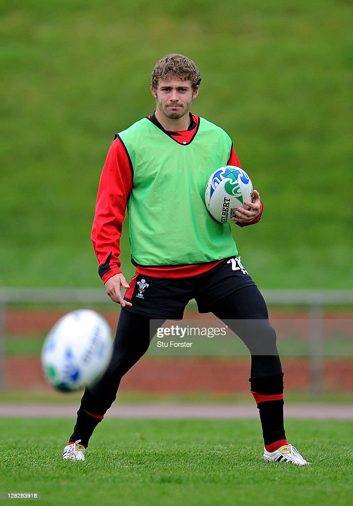 Fullback <a gi-track='captionPersonalityLinkClicked' href=/galleries/search?phrase=Leigh+Halfpenny&family=editorial&specificpeople=4232760 ng-click='$event.stopPropagation()'>Leigh Halfpenny</a> looks on during a Wales IRB Rugby World Cup 2011 training session at Newtown Park on October 6, 2011 in Wellington, New Zealand.