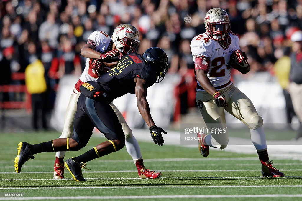 Fullback Lonnie Pryor #24 of the Florida State Seminoles carries the ball against the Maryland Terrapins at Byrd Stadium on November 17, 2012 in College Park, Maryland.