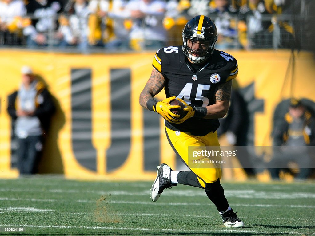 0cc021eb7f1 ... Fullback Roosevelt Nix 45 of the Pittsburgh Steelers carries the ball  downfield during a game ...