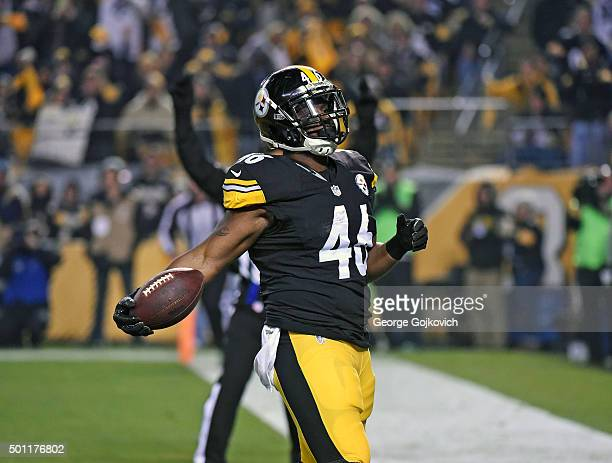 Fullback Will Johnson of the Pittsburgh Steelers holds the football after catching a pass and scoring on a twopoint conversion attempt during a game...