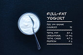 Tabletop shot of plain full-fat yogurt (Greek yogurt) a slate background. Full-fat yogurt is high in healthy fats and an integral part in a healthy diet and can help with weight loss and overall well