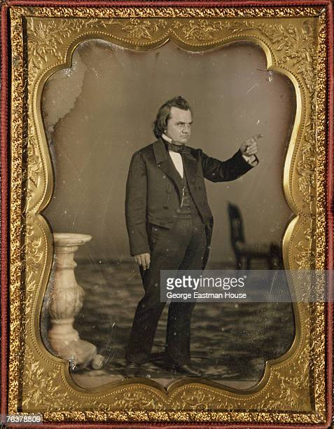 Fulllength portrait of American politician Stephen A Douglas as he points his finger mid 1840s
