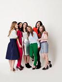 Full-length portrait of six young women