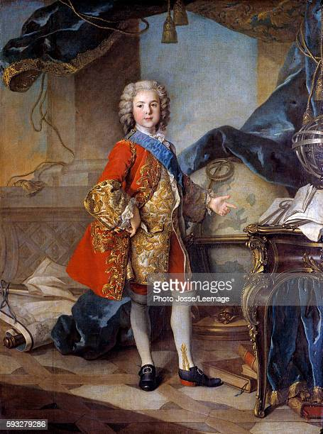 Fulllength portrait of the Dauphin Louis de France son of Louis XV in his study 'cabinet' Painting by Louis Tocque 1739 Oil on canvas 196 X 146 m...