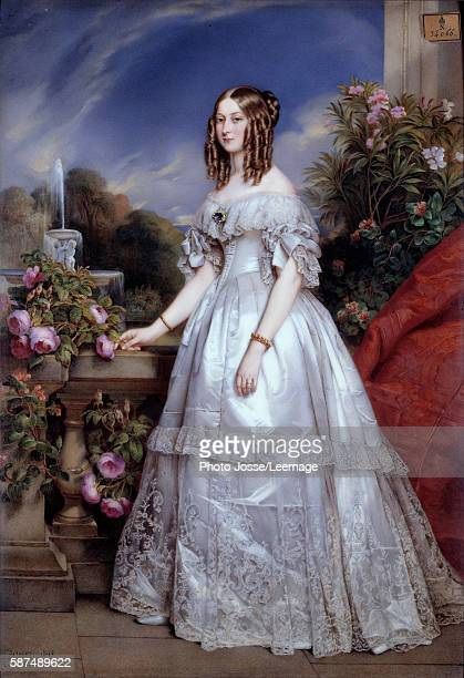 Fulllength portrait of the Duchess of Nemours Portrait of Victoire de SaxeCoburgGotha wife of the Duke of Nemours Painting by MP Julien Laurent based...
