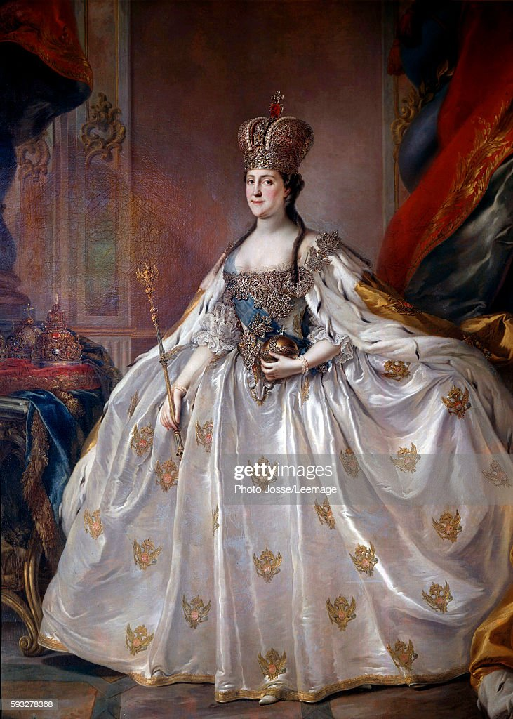 Fulllength portrait of the Empress of Russia Catherine II the Great in her coronation robe Painting by Stefano Torelli 18th century Hermitage Museum...