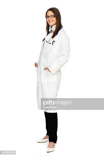 Full-length portrait of young happy female medical intern