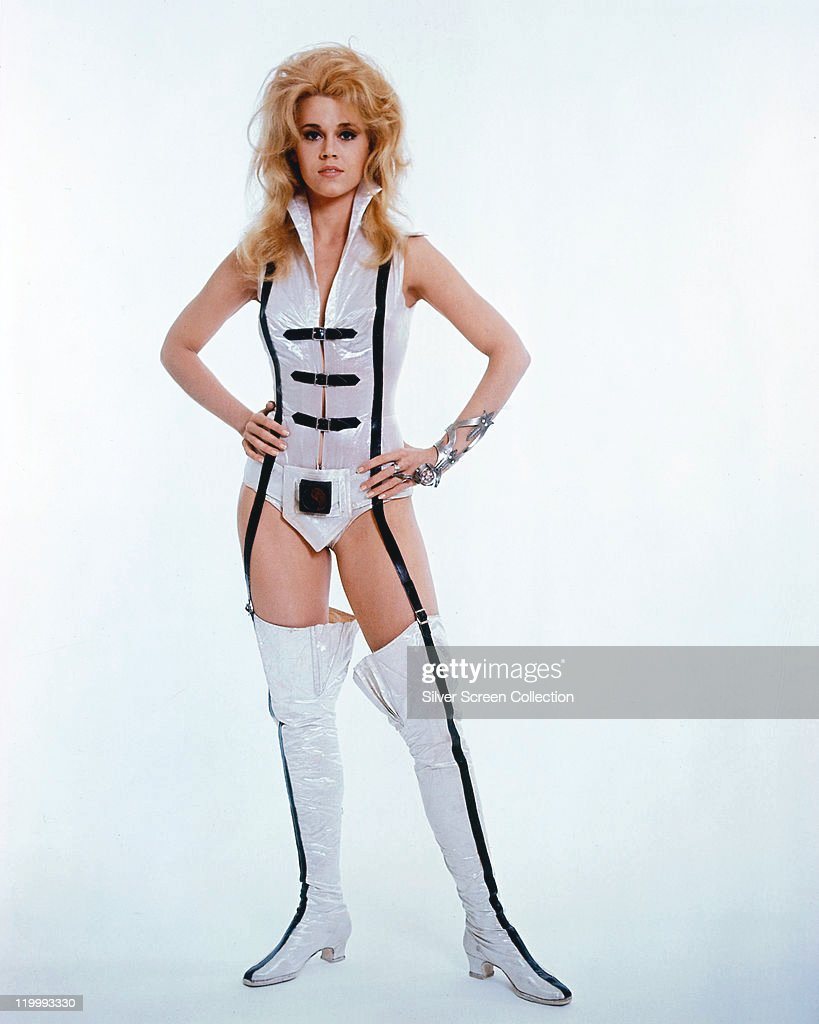 Full-length shot of <a gi-track='captionPersonalityLinkClicked' href=/galleries/search?phrase=Jane+Fonda&family=editorial&specificpeople=202174 ng-click='$event.stopPropagation()'>Jane Fonda</a>, US actress, in costume in a studio portrait, against white background, issued as publicity for the film, 'Barbarella', 1968. The science fiction film, directed by Roger Vadim (1928-2000), starred Fonda as 'Barbarella'.