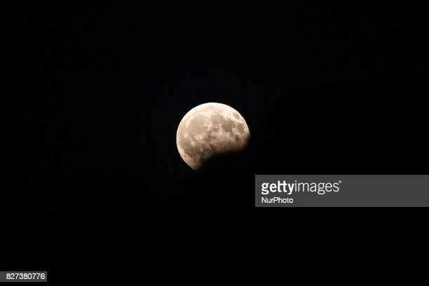 Fullmoon with eclipse over Aulida Greece on August 7 2017 The Moon had a partial eclipse visible from Greece