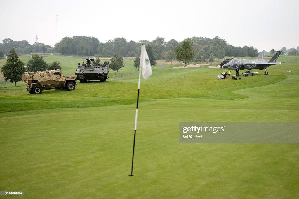 Full-size models of military vehicles are displayed on the golf course at the Celtic Manor Hotel on September 3, 2014 in Newport, Wales. Final preperations are being made in both Cardiff and Newport where the summit is being hosted at the Celtic Manor Resort from September 4 - 5, 2014.