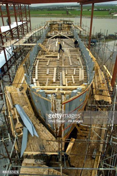 A fullsize replica of the Irish emigrant ship the Jeanie Johnson under construction at Blennerville near Tralee Ireland The 150 foot long vessel will...