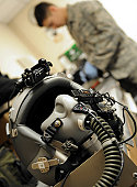 April 21, 2009 - A fully assembled flight crew helmet sits after being inspected by an Airman.
