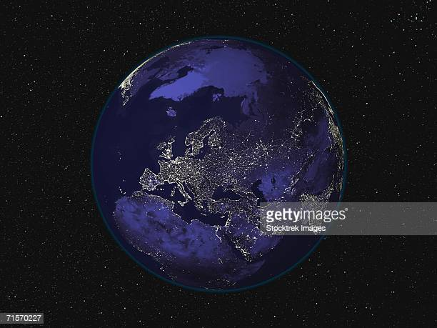 Fully dark image of Earth at night centered on Europe showing city lights