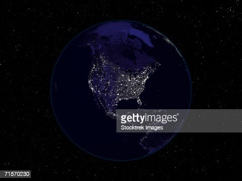 Fully dark image of Earth at night centered on North America showing city lights. : Stock Photo
